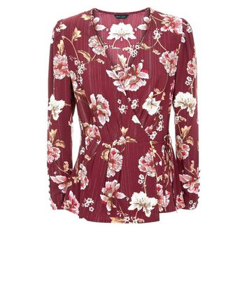 Red Floral Metallic Stripe Wrap Front Blouse New Look