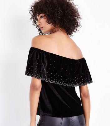Black Diamante Scallop Trim Velvet Bardot Top New Look
