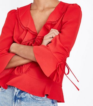 Red Lace Frill Trim Peplum Hem Shirt New Look