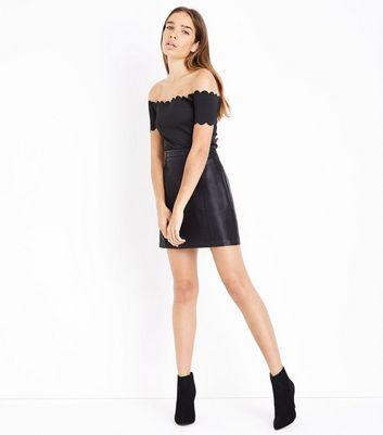 Black Scallop Bardot Neck Bodysuit New Look
