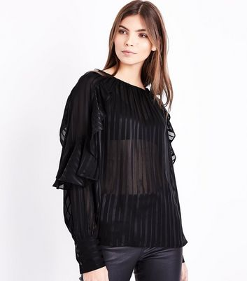 Black Stripe Frill Sleeve Blouse New Look