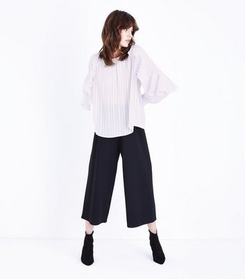 Pale Grey Stripe Frill Sleeve Blouse New Look