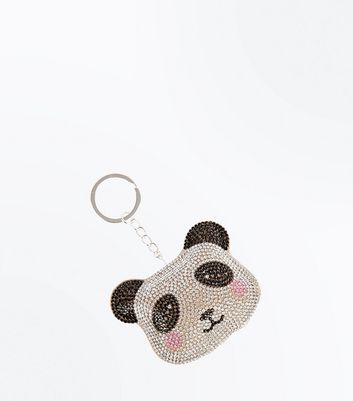 Black Diamante Embellished Panda Keyring New Look