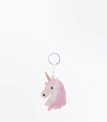 Pink Embellished Unicorn Keyring New Look