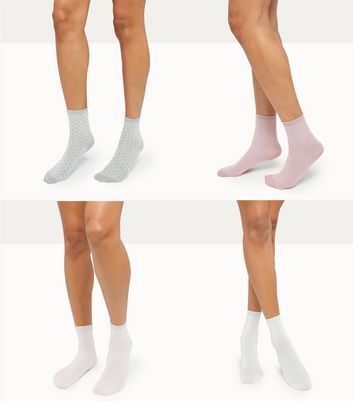 4 Pack Metallic Ankle Socks New Look