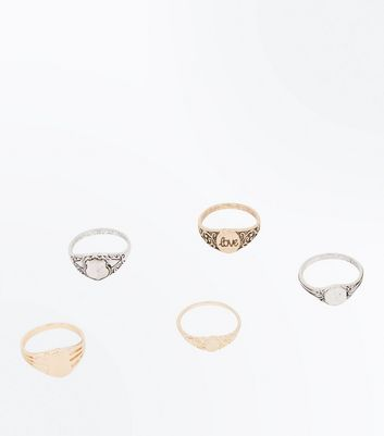 5 Pack Metallic Signet Rings New Look