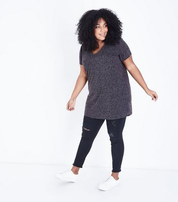 Curves Grey Marl Oversized T-Shirt New Look