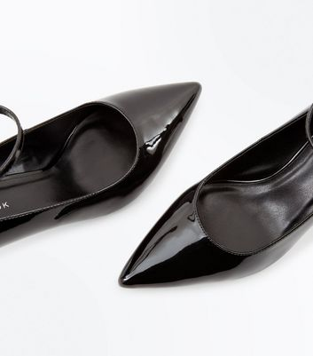 Black Patent Ankle Strap Pointed Courts New Look