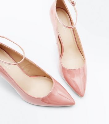 Pink Patent Ankle Strap Pointed Courts New Look