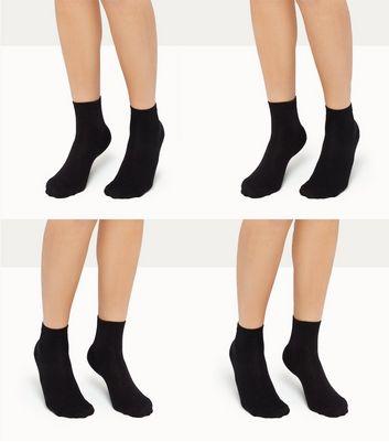 4 Pack Black Ankle Socks New Look