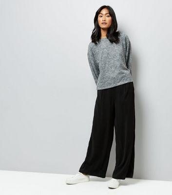 Black Marl Balloon Sleeve Sweater New Look