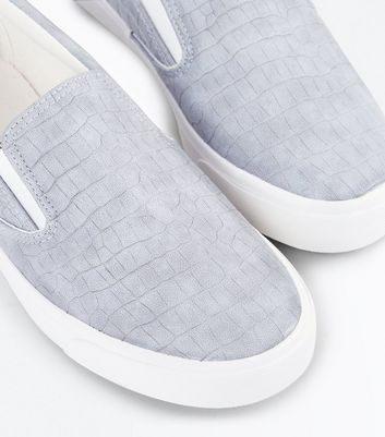 Grey Croc Texture Slip On Trainers New Look