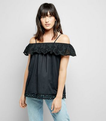 Cameo Rose Black Cut Out Embroidered Top New Look
