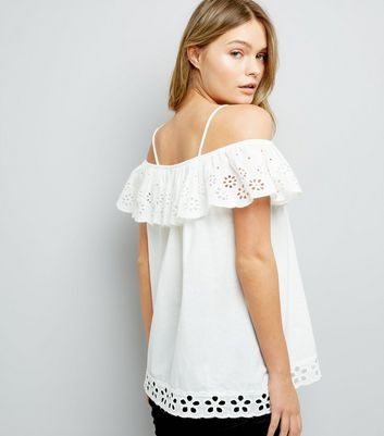Cameo Rose White Cut Out Embroidered Top New Look