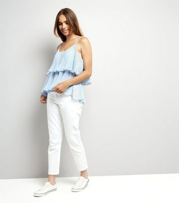 Cameo Rose Blue Frill Detail Cami Top New Look