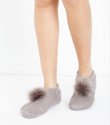 Mink Faux Fur Pom Pom Slipper Socks New Look