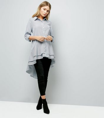Blue Stripe Peplum Dip Hem Shirt New Look