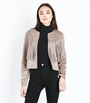 Stone Suedette Whip Stitch Fringed Jacket New Look