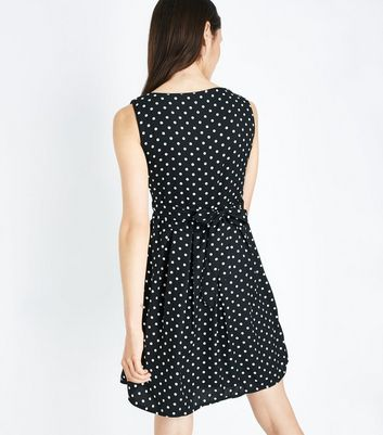 Mela Black Polka Dot Dress New Look