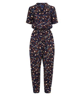 Mela Navy Feather Print Jumpsuit New Look