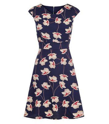 Mela Navy Floral Cap Sleeve Tie Back Dress New Look