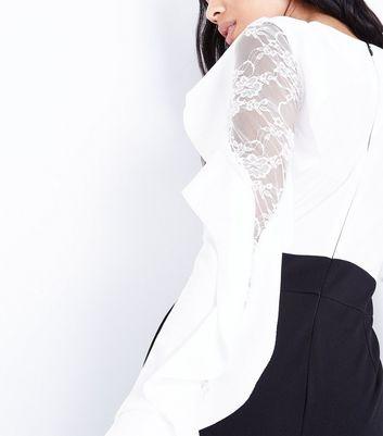 Mela Black Contrast Frill Sleeve Jumpsuit New Look