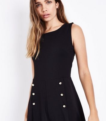 Mela Black Button Front Jumpsuit New Look