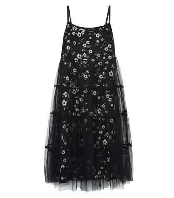 Black Floral Print Mesh Overlay Slip Dress New Look