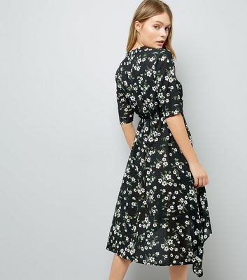 Black Floral Print Hanky Hem Shirt Dress New Look