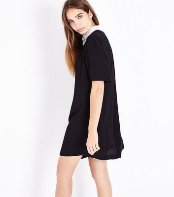 Black Embellished Collar Tunic Dress New Look