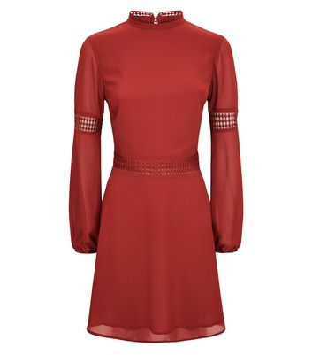 Rust Crochet Trim Balloon Sleeve Dress New Look