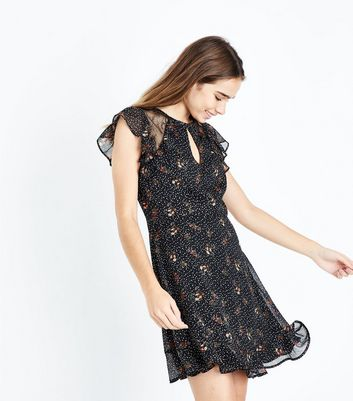 Black Floral Star Print Lace Panel Dress New Look