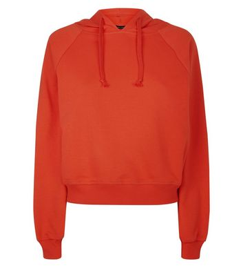 Red Raglan Sleeve Hoodie New Look