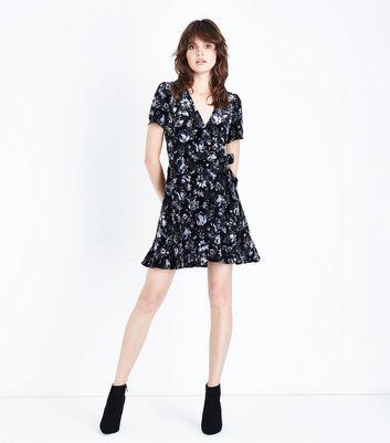 Black Floral Velvet Wrap Front Tea Dress New Look