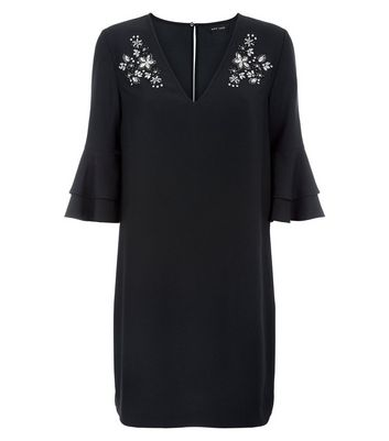 Black Embellished Tiered Sleeve Tunic Dress New Look