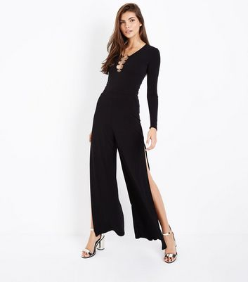 Black Ring Front Long Sleeve Bodysuit New Look