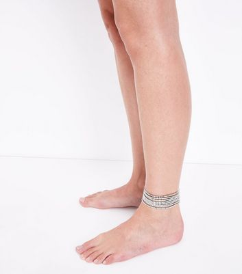 Silver Embellished Layered Anklet New Look