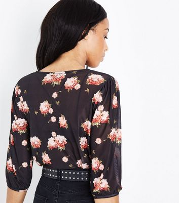 Black Floral Print Mesh Balloon Sleeve Top New Look
