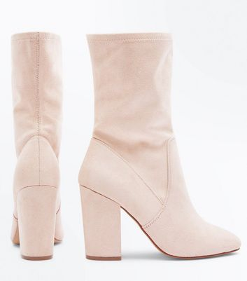Wide Fit Nude Suedette Calf Sock Boots New Look