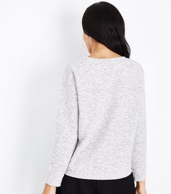 Grey Marl Ribbed Sweatshirt New Look
