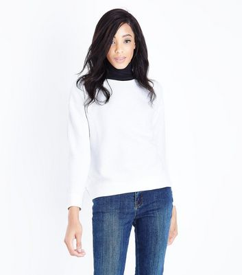 Cream Ribbed Sweatshirt New Look