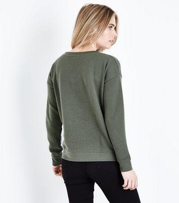 Khaki Ribbed Sweatshirt New Look