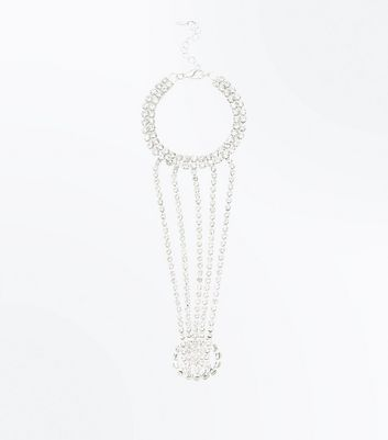 Silver Diamante Embellished Multi Strand Hand Chain New Look