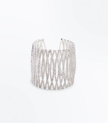 Silver Diamante Overlapping Ovals Cuff Bracelet New Look