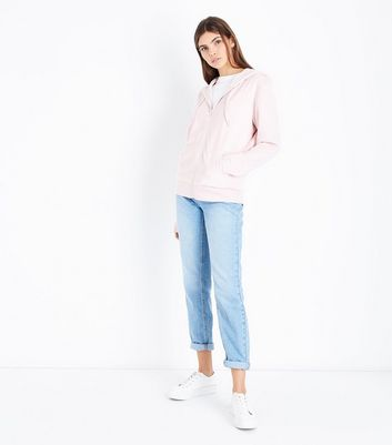 Shell Pink Velour Zip Front Hoodie New Look