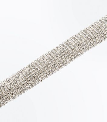 Silver Crystal Diamante Embellished Bracelet New Look