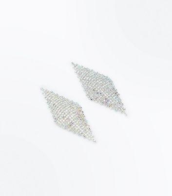 Silver Diamante Embellished Chandelier Earrings New Look