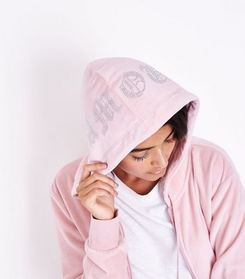 Pink Velour Amour Embellished Hoodie New Look