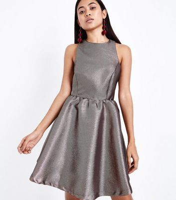 Petite Black Metallic Jacquard Cut Out Skater Dress New Look