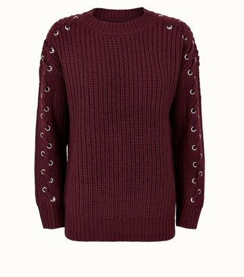 Burgundy Eyelet Lace Up Sleeve Jumper New Look
